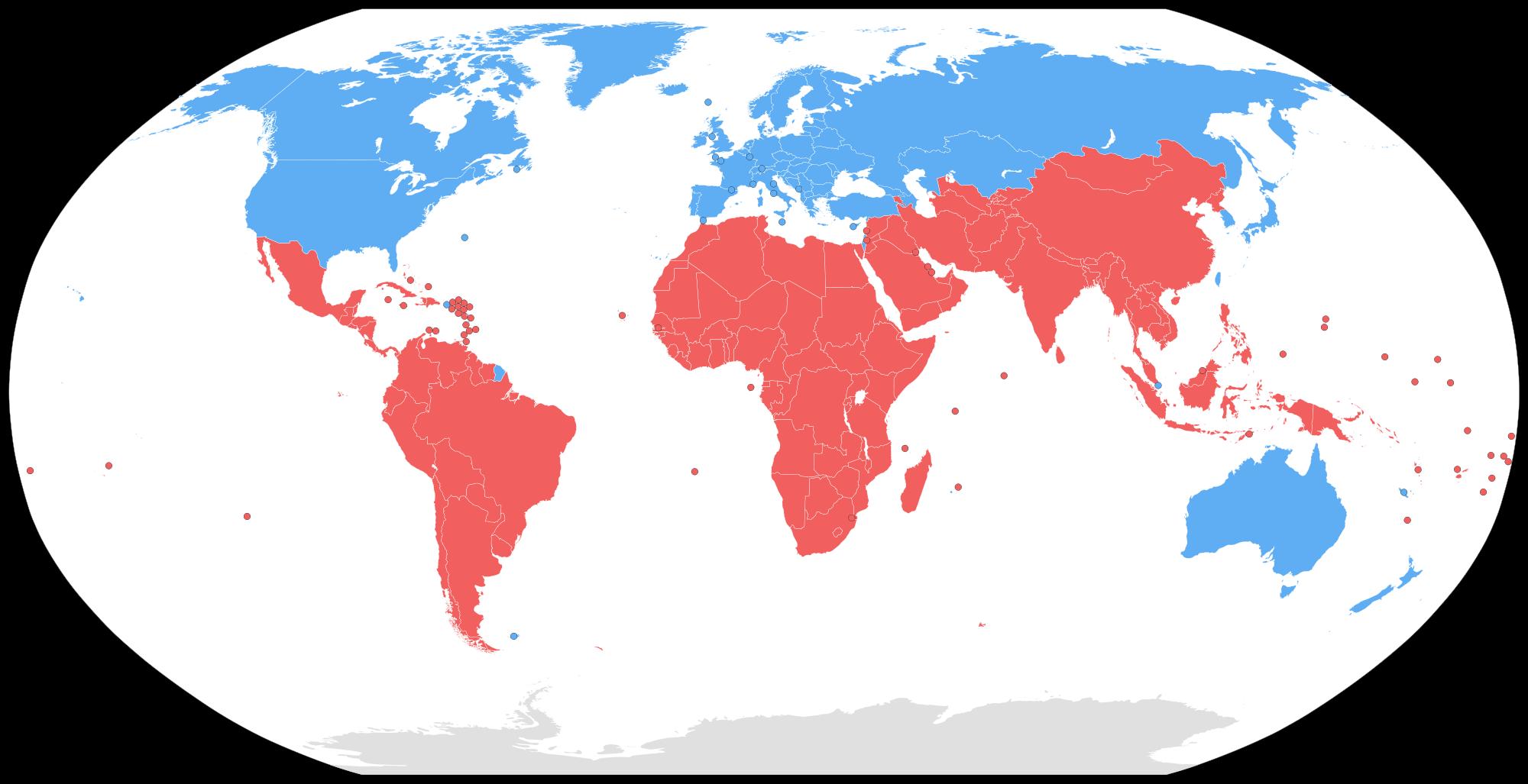 Grau de desenvolvimento dos países