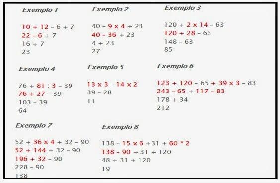 Expressões numéricas e propriedades das operações